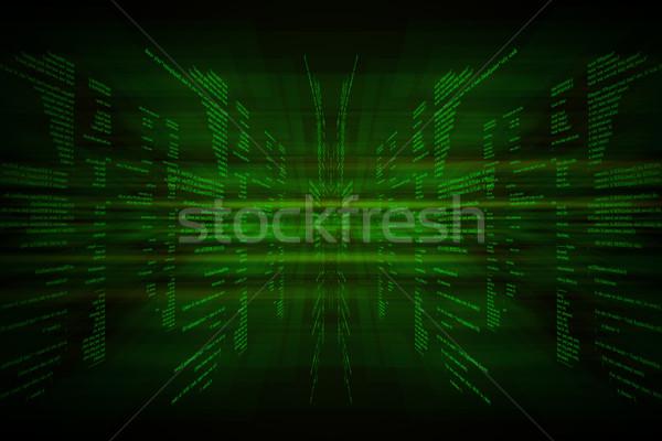 Verde código binario negro ordenador luz software Foto stock © cherezoff