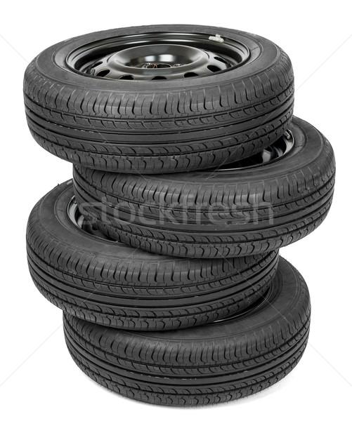 Black isolation rubber tire Stock photo © cherezoff