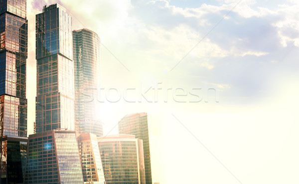 Architectural complex of Moscow-City with sunset Stock photo © cherezoff