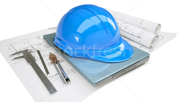 Construction helmet and laptop in the drawings Stock photo © cherezoff