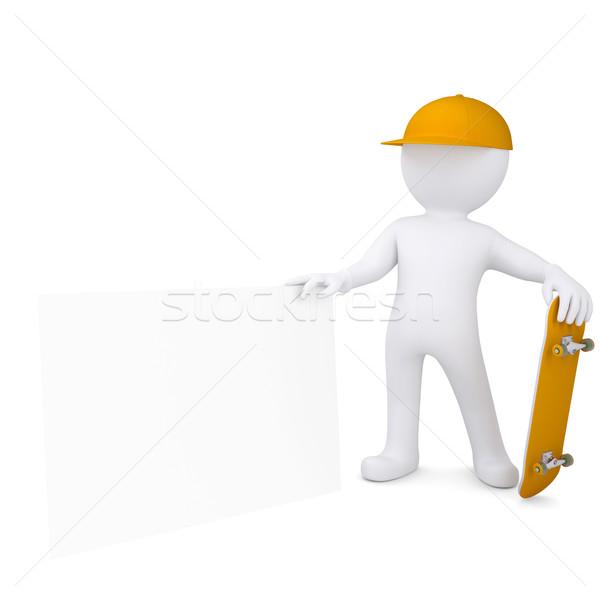 3D biały człowiek deskorolka biały arkusza Zdjęcia stock © cherezoff