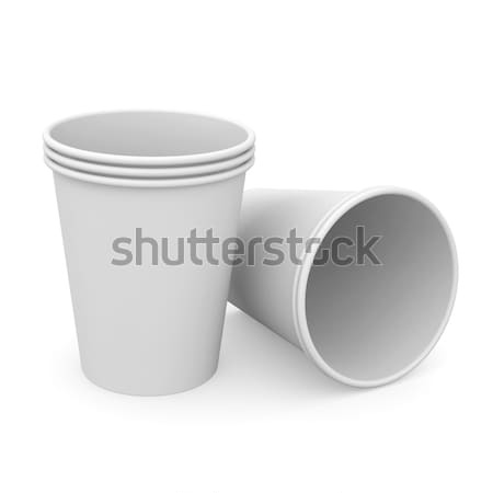 Group of white paper cups Stock photo © cherezoff