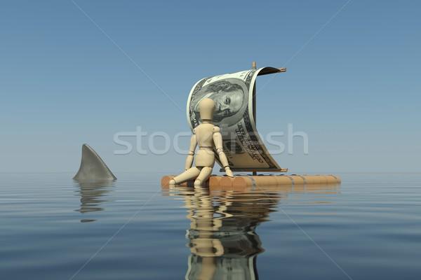 Legno uomo zattera vela dollaro gamba Foto d'archivio © cherezoff