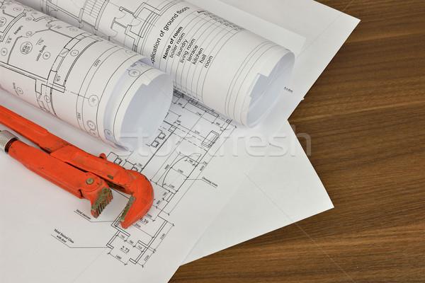 Clé à molette dessins bureau réparation construction bureau Photo stock © cherezoff
