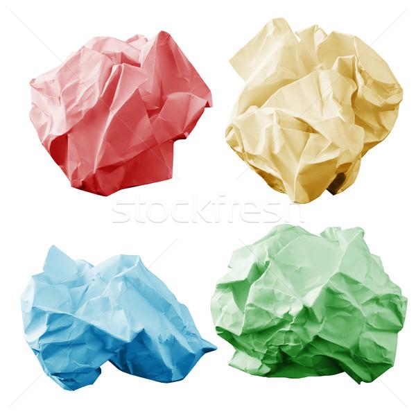 Colorful crumpled paper wads Stock photo © cherezoff
