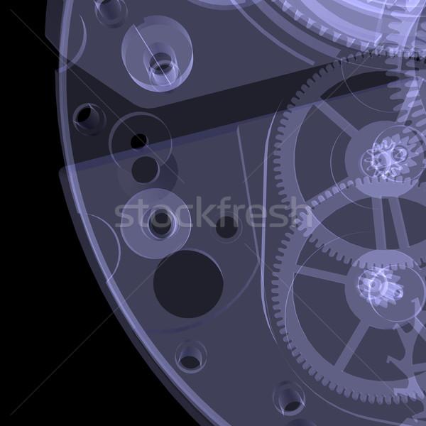 クロック メカニズム X線 孤立した レンダー 黒 ストックフォト © cherezoff