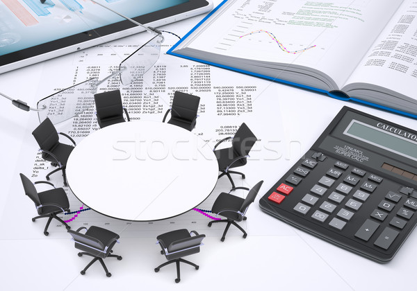 Round table, tablet pc, book, calculator, glasses, paper with columns of figures Stock photo © cherezoff