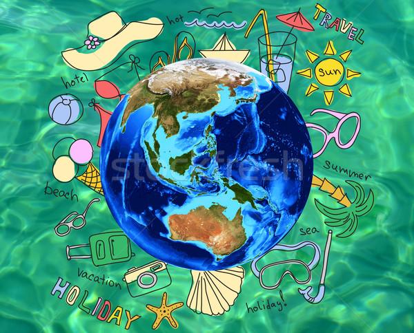 Nyári szabadság vakáció szavak körül földgömb zöld Stock fotó © cherezoff