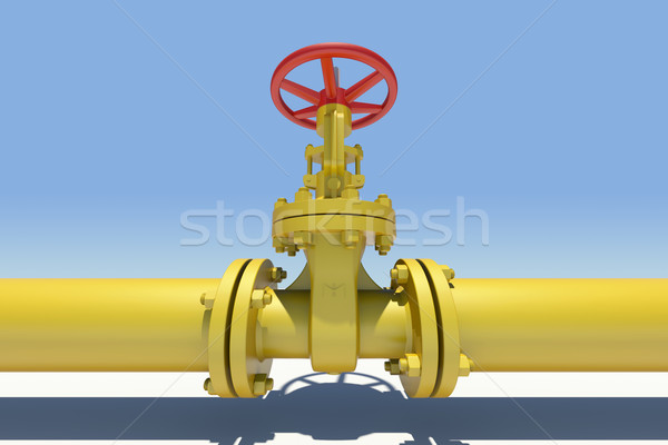 Yellow pipe and valve. Sky as backdrop Stock photo © cherezoff