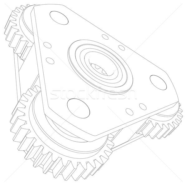 図面 歯車 観点 表示 メカニズム ストックフォト © cherezoff