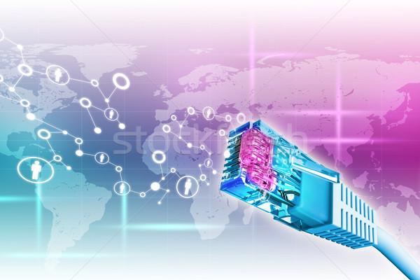 Kolorowy kabel komputerowy streszczenie mapie świata Zdjęcia stock © cherezoff