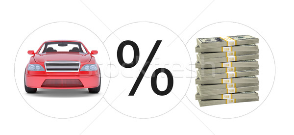 Car with percent and bundle of money Stock photo © cherezoff