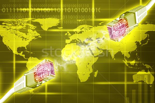 Computer wires on yellow background Stock photo © cherezoff