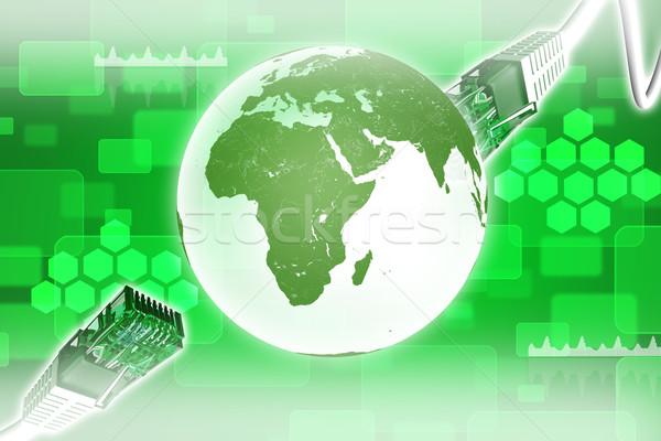 Kabel komputerowy ziemi wykresy komputera kabli streszczenie Zdjęcia stock © cherezoff
