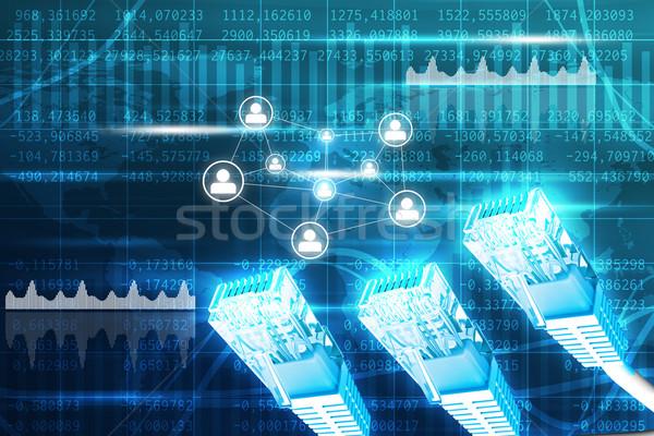 Komputera kabli wykresy kabel komputerowy streszczenie niebieski Zdjęcia stock © cherezoff