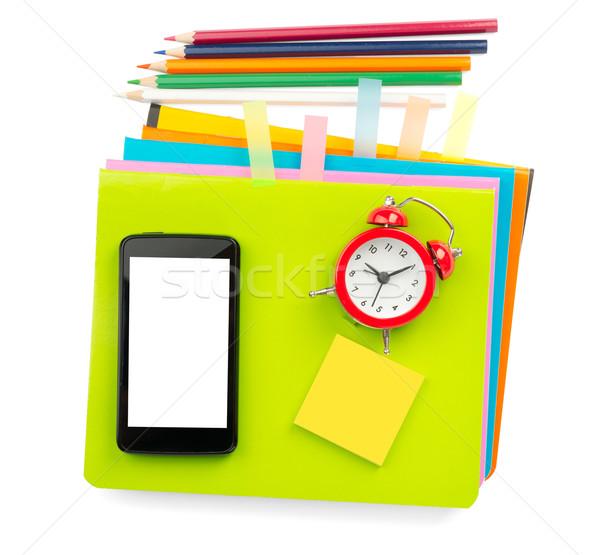Crayons and smartphone Stock photo © cherezoff