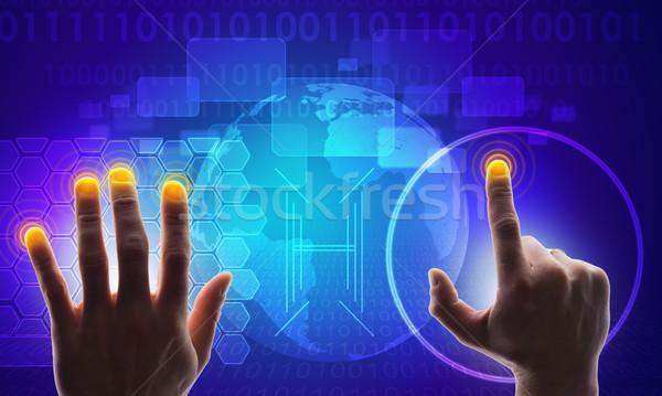 Kék holografikus képernyő térkép kezek világtérkép Stock fotó © cherezoff