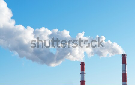 Atomi erő kettő kék ég felhők épület Stock fotó © cherezoff