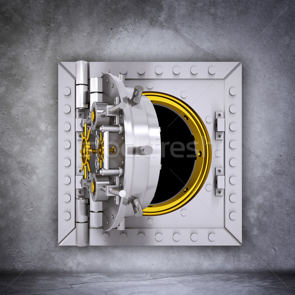 Metalen bank gewelf deur Open grijs Stockfoto © cherezoff