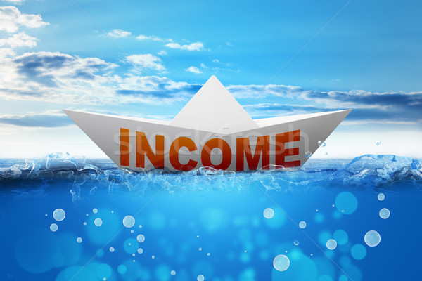 Origami paper boat with word income Stock photo © cherezoff