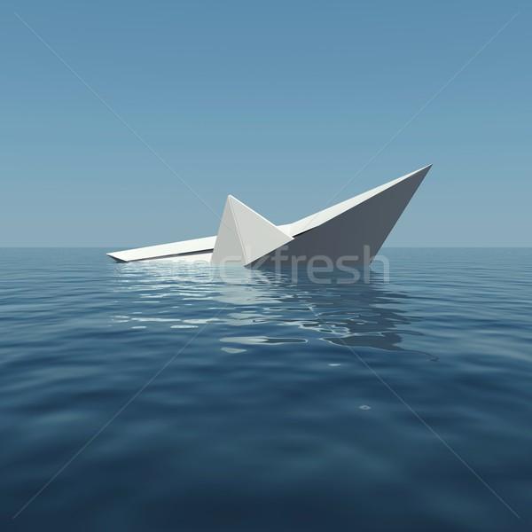 Papír csónak süllyed tenger 3D renderelt kép Stock fotó © cherezoff