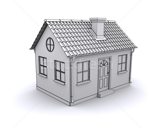 Frame house 3d model of a white Stock photo © cherezoff