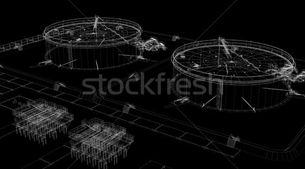 аннотация промышленных Черно-белые оказывать черный здании Сток-фото © cherezoff