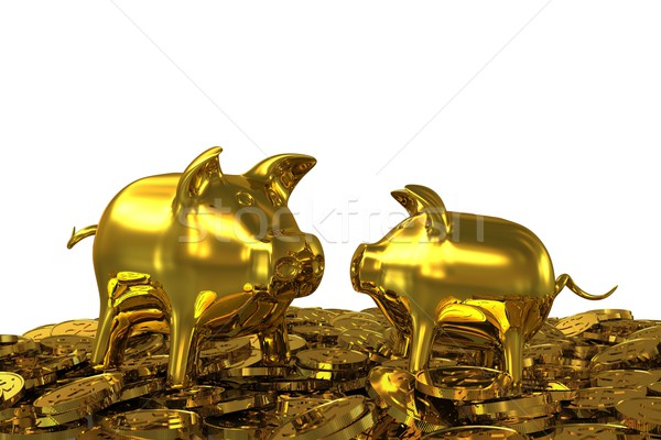 Two golden piggy banks in the gold dollar coins. 3D rendering Stock photo © cherezoff