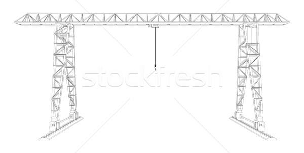 Gantry crane. Wire-frame. Vector Stock photo © cherezoff