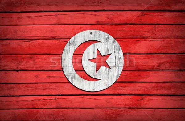 Tunisian flag painted on wooden boards Stock photo © cherezoff