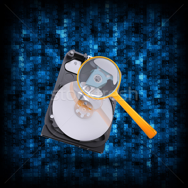 Bináris kód hdd nagyító absztrakt elektronikus internet Stock fotó © cherezoff