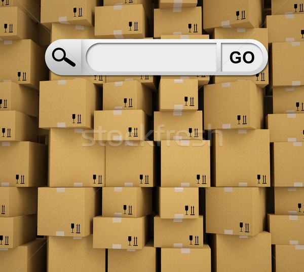 Búsqueda bar navegador pared caja de cartón negocios Foto stock © cherezoff
