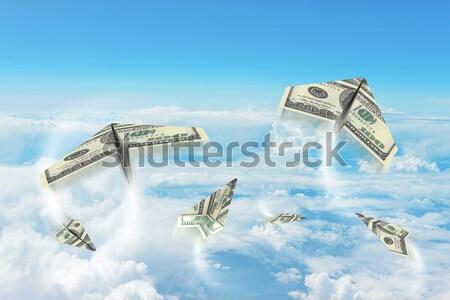 Papier cent ciel nuages Photo stock © cherezoff