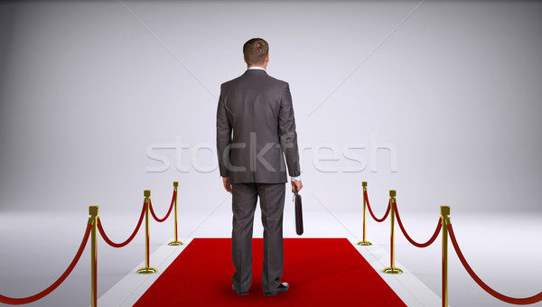Businessman in suit holding briefcase and standing on red carpet. Rear view Stock photo © cherezoff
