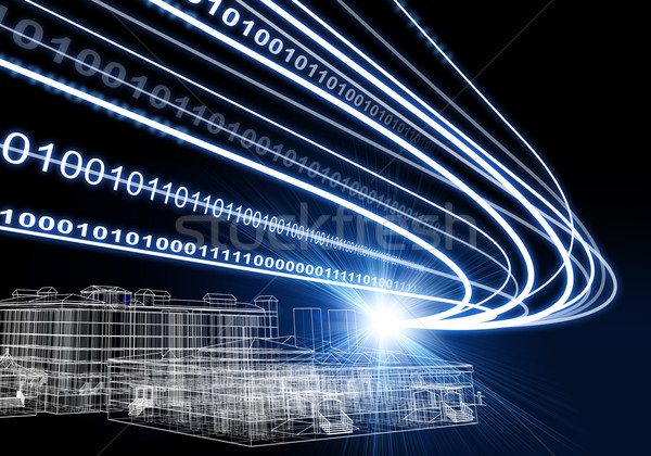 Wire-frame building, light beams and digits on dark background  Stock photo © cherezoff