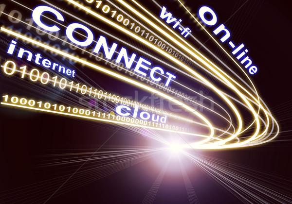Stream of light beams, digits and words like internet, on-line etc. on dark background Stock photo © cherezoff