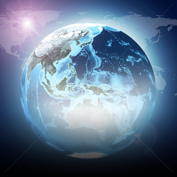 Blue earth globe glow with continents, transparent. World map on dark background Stock photo © cherezoff