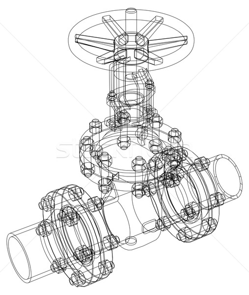 Industrial valve. Vector rendering of 3d Stock photo © cherezoff