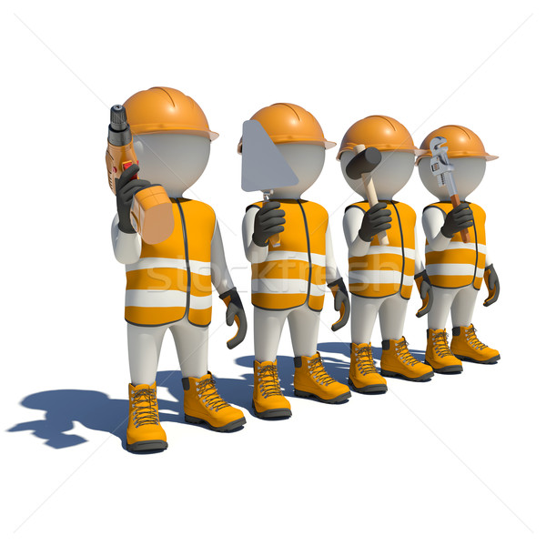 Workteam in special clothes, shoes and helmet holding tools Stock photo © cherezoff