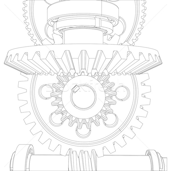 Gears with bearings and shafts. Close-up. Vector Stock photo © cherezoff