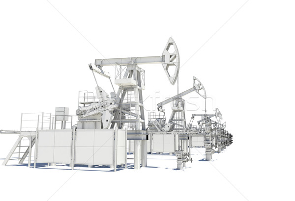 Row of Oil and Gas Pump Jacks Stock photo © cherezoff