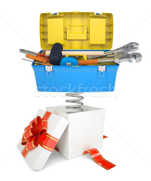 Ajándék doboz piros zenekar szerszámosláda szerszámosláda tavasz Stock fotó © cherezoff
