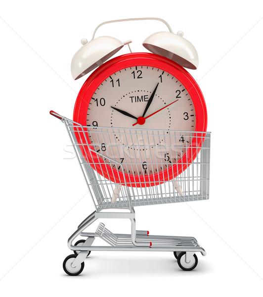 Bevásárlókocsi izolált fehér fém idő piros Stock fotó © cherezoff