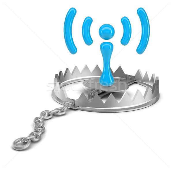 Wi-fi икона несут ловушка изолированный белый Сток-фото © cherezoff