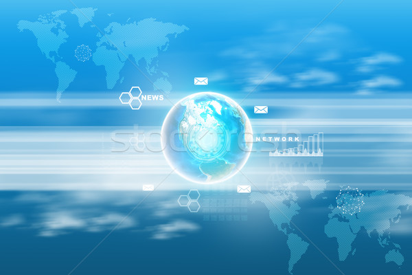 Stockfoto: Abstract · Blauw · wereldkaart · verschillend · symbolen · kaart