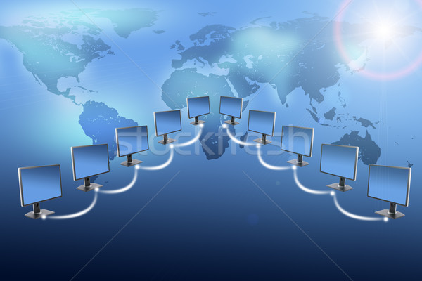 Monitors with world map on blue Stock photo © cherezoff