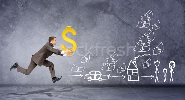 Işadamı dolar işareti soyut gri çizimler imzalamak Stok fotoğraf © cherezoff