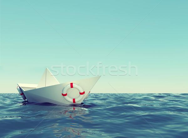 Paper boat in sea Stock photo © cherezoff