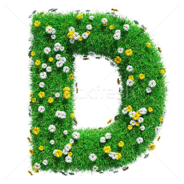 D betű zöld fű virágok izolált fehér betűtípus Stock fotó © cherezoff