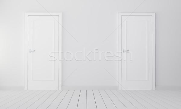 Kettő ajtók üres szoba 3d illusztráció választás épület Stock fotó © cherezoff